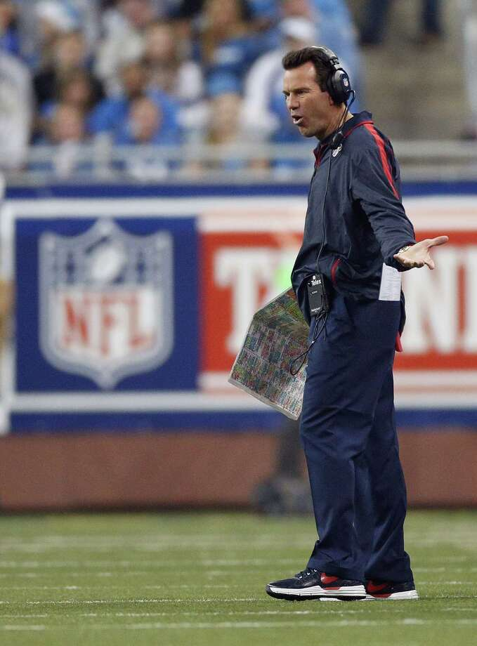Head coach Gary Kubiak of the Houston Texans looks on while playing the Detroit Lions at Ford Field on November 22, 2012 in Detroit, Michigan. Houston won the game 34-31. Photo: Gregory Shamus, Getty Images / 2012 Getty Images