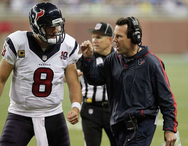 Head coach Gary Kubiak of the Houston Texans talks with Matt Schaub #8 while playing the Detroit Lions at Ford Field on November 22, 2012 in Detroit, Michigan. Houston won the game 34-31. Photo: Gregory Shamus, Getty Images / 2012 Getty Images