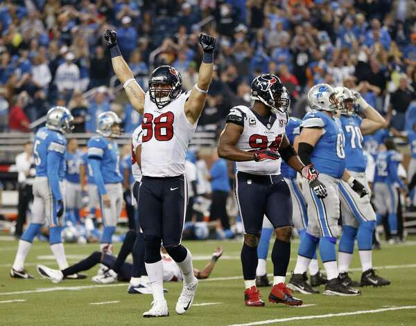 Connor Barwin #98 of the Houston Texans reacts after Jason Hanson #4 of the Detroit Lions misses an overtime field goal at Ford Field on November 22, 2012 in Detroit, Michigan. Houston won the game 34-31 in overtime. Photo: Gregory Shamus, Getty Images / 2012 Getty Images
