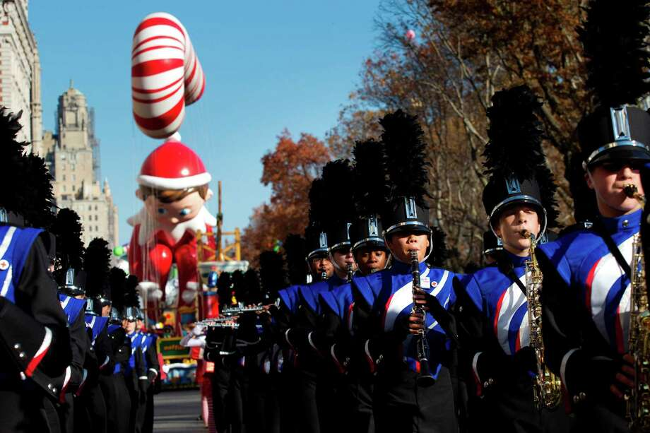 The Oak Ridge High School Marching Band marches along Central Park West as they perform in the Macy's Thanksgiving Day Parade Thursday, Nov. 22, 2012, in New York City. Photo: Brett Coomer, Houston Chronicle / © 2012 Houston Chronicle