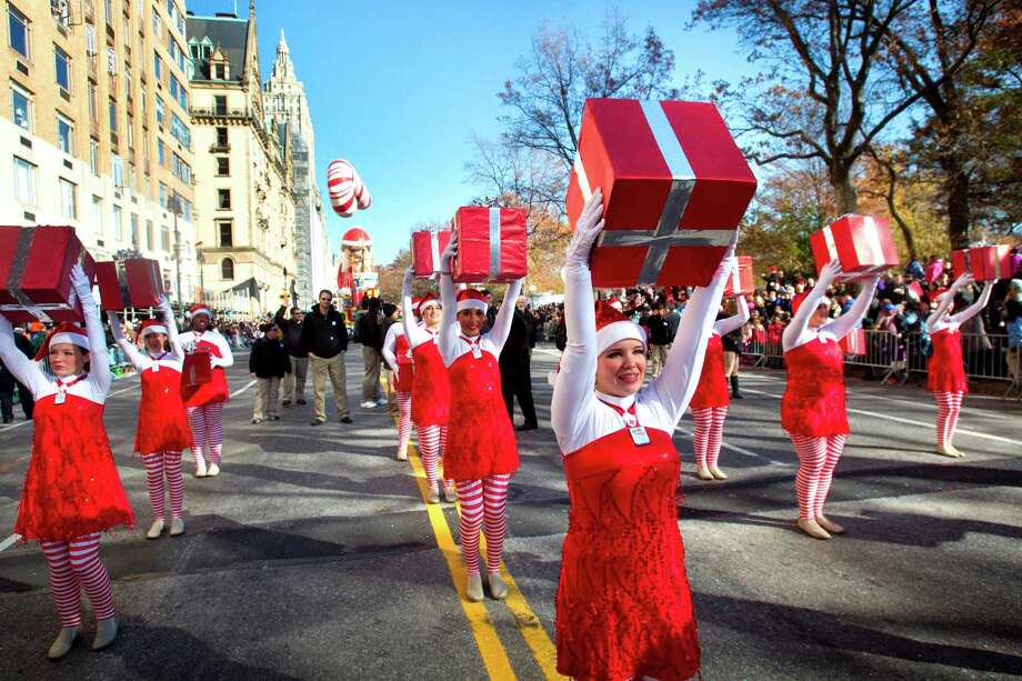 The Oak Ridge High School Color Guard performs while marching along Central Park West during the Macy's Thanksgiving Day Parade Thursday, Nov. 22, 2012, in New York City. Photo: Brett Coomer, Houston Chronicle / © 2012 Houston Chronicle