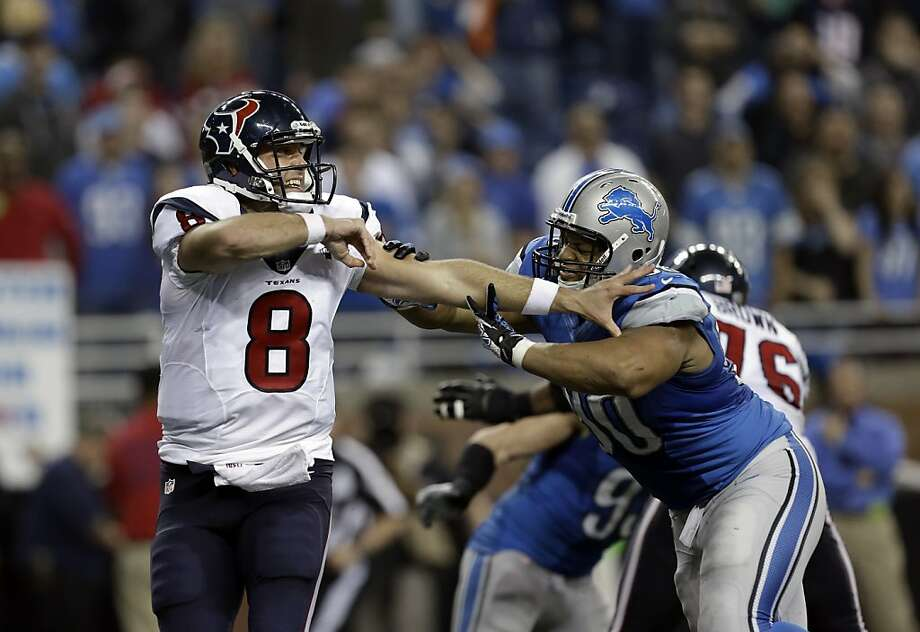 Detroit Lions defensive tackle Ndamukong Suh (90) pressures Houston Texans quarterback Matt Schaub (8) in overtime of an NFL football game in Detroit, Thursday, Nov. 22, 2012. Houston won 34-31. (AP Photo/Paul Sancya) Photo: Paul Sancya, Associated Press