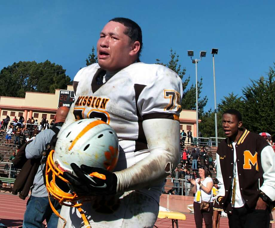 "Mission Bears Mane Fale was visibly upset at his teams loss to the Lincoln Mustangs in the annual AAA/SF Section Varsity Football ""Turkey Day"" championship game in San Francisco Thursday Nov. 22, 2012. Lincoln won 22-21 Photo: Lance Iversen, The Chronicle"