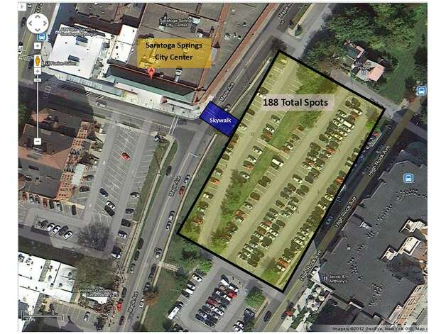 Area of proposed Saratoga Springs City Center parking garage. (Provided by Saratoga Springs City Center)