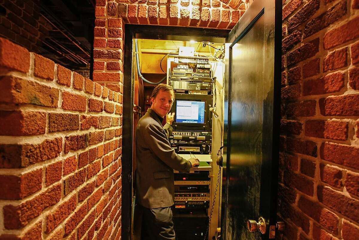 On October 14, 2012 in Sausalito Calif. Jonathan Westerling stands in front of Radio Sausalito's servers, hosting the hours of music and shows to be played on the 24 hour jazz, big band, and blues station.