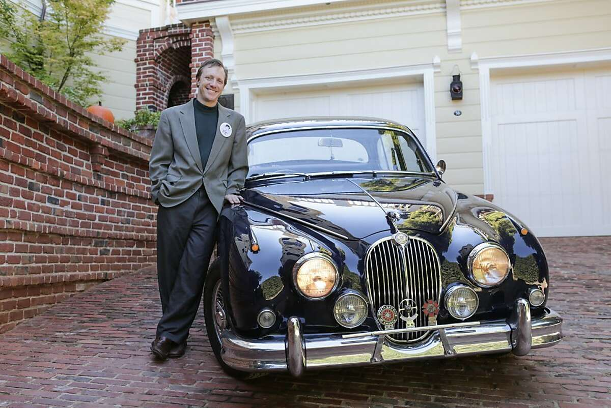 On October 14, 2012 in Sausalito Calif. Jonathan Westerling stands beside his nearly restored 1967 Jaguar Mk2 outside of Radio Sausalito studio at the historic Pines Estate. The Jaguar's previous owner was the late Phil Frank, best known for his comics stripe Farley, who began restoring the vehicle in 2004, however Phil passed away before the car was completely restored. Jonathan bought the Jaguar in 2008 and has taken it upon himself to restore the vehicle as Phil would have wanted it, working on the vehicle every Sunday in his free time.