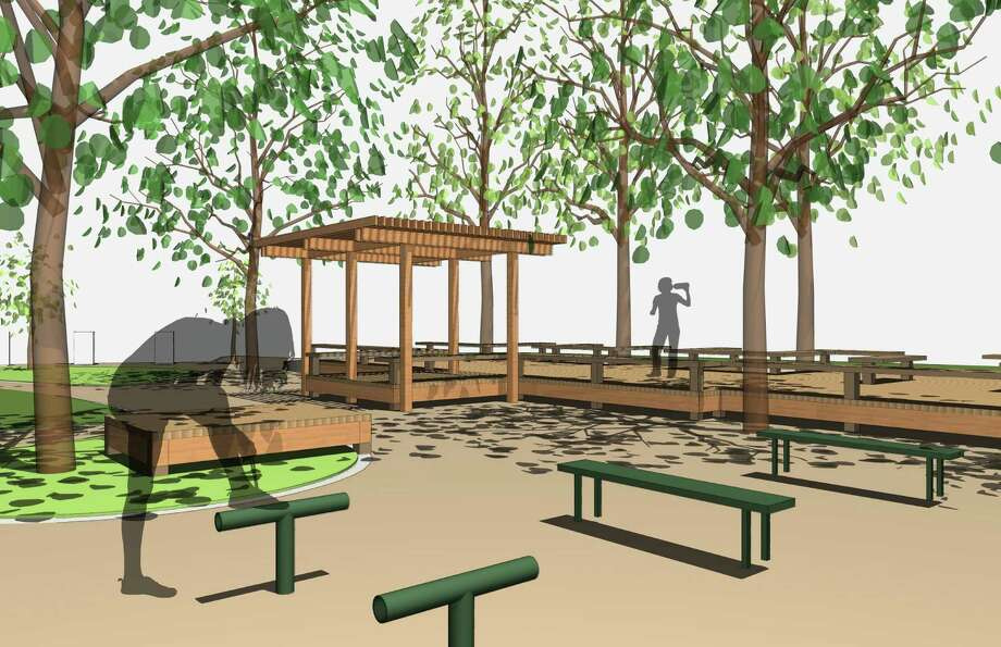 An architectural rendering of the Memorial Park stretching deck, to be financed in part by a $10,000 donation from the Houston Marathon Foundation. Photo: Kirksey Architecture