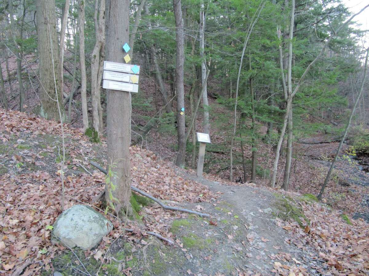 Photo by Gillian Scott. Signs lead walkers from the Mohawk-Hudson Bike-Hike Trail near Lock 7 in Niskayuna onto the John F. Brown Trail System, which ties into trails at Mohawk River State Park.