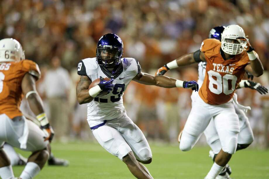 AUSTIN, TX - NOVEMBER 22:  Matthew Tucker #29 of the TCU Horned Frogs breaks free against the Texas Longhorns on November 22, 2012 at Darrell K Royal-Texas Memorial Stadium in Austin, Texas. Photo: Cooper Neill, Getty Images / 2012 Getty Images