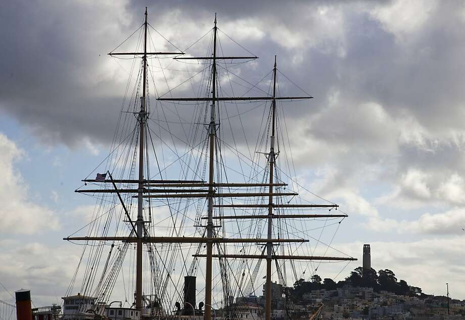 Rain clouds hang over the masts of the 19th-century ship Balclutha and Coit Tower on Nov. 8, when it rained nearly a fifth of an inch in San Francisco. Photo: Eric Risberg, Associated Press