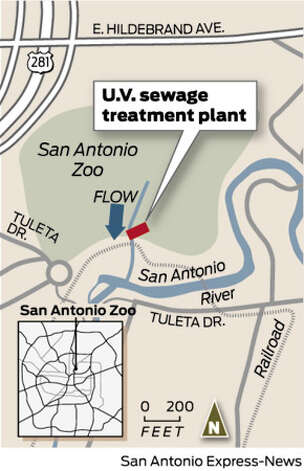 Map of U.V. sewage treatment plant Photo: Express-News Graphic