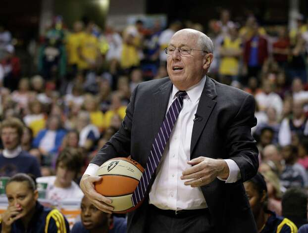 Connecticut Sun head coach Mike Thibault questions a call during the second half of Game 2 of the WNBA basketball Eastern Conference Finals against the Indiana Fever Monday, Oct. 8, 2012, in Indianapolis. Indiana defeated Connecticut 78-76. (AP Photo/Darron Cummings) Photo: Darron Cummings, Associated Press / AP