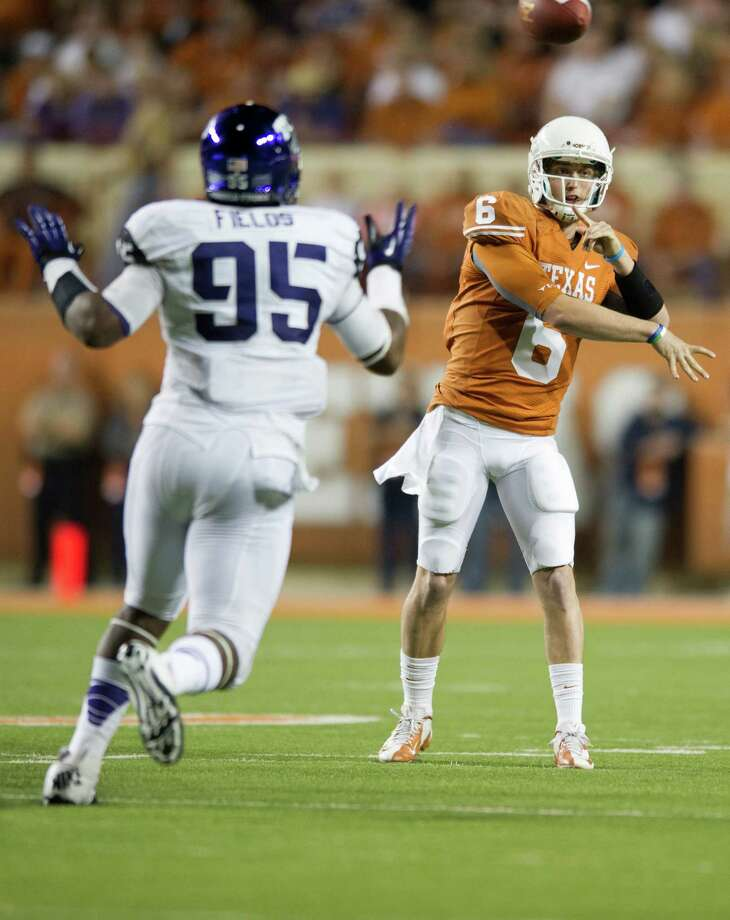 AUSTIN, TX - NOVEMBER 22:  Case McCoy #6 of the Texas Longhorns throws a pass against the TCU Horned Frogs on November 22, 2012 at Darrell K Royal-Texas Memorial Stadium in Austin, Texas. Photo: Cooper Neill, Getty Images / 2012 Getty Images