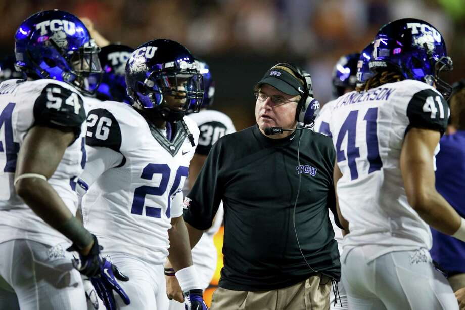 AUSTIN, TX - NOVEMBER 22:  Head coach Gary Patterson of the TCU Horned Frogs has words with his team against the Texas Longhorns on November 22, 2012 at Darrell K Royal-Texas Memorial Stadium in Austin, Texas. Photo: Cooper Neill, Getty Images / 2012 Getty Images