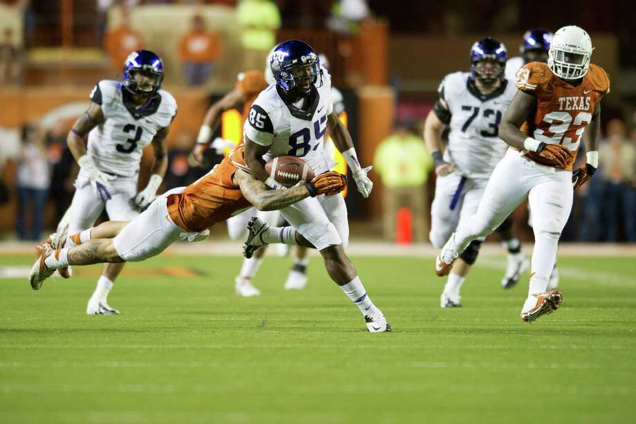 AUSTIN, TX - NOVEMBER 22:  LaDarius Brown #85 of the TCU Horned Frogs breaks free against the Texas Longhorns on November 22, 2012 at Darrell K Royal-Texas Memorial Stadium in Austin, Texas. Photo: Cooper Neill, Getty Images / 2012 Getty Images
