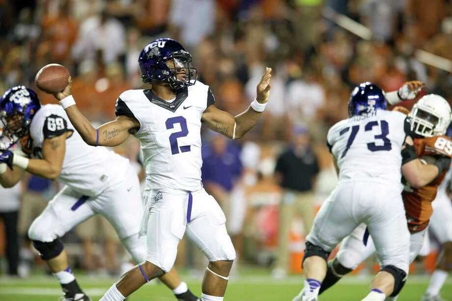AUSTIN, TX - NOVEMBER 22:  Trevone Boykin #2 of the TCU Horned Frogs throws a pass against the Texas Longhorns on November 22, 2012 at Darrell K Royal-Texas Memorial Stadium in Austin, Texas. Photo: Cooper Neill, Getty Images / 2012 Getty Images