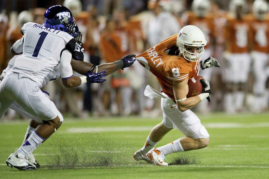 TCU 20, UT 14AUSTIN, TX - NOVEMBER 22:  Jaxon Shipley #8 of the Texas Longhorns is tackled by the TCU Horned Frogs on November 22, 2012 at Darrell K Royal-Texas Memorial Stadium in Austin, Texas. Photo: Cooper Neill, Getty Images / 2012 Getty Images