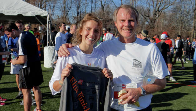 Elite women's runner Anne Johnston and her dad Bob both participated in the 35th annual Pequot Turkey Trot on Thursday. Photo: Mike Lauterborn / Fairfield Citizen contributed
