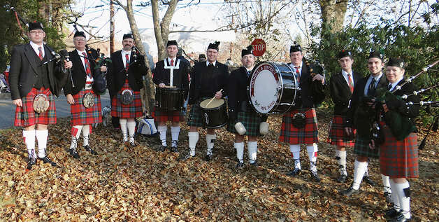 The Trumbull & District Pipe Band serenaded runners Thursday in the 35th annual Pequot Turkey Trot in Southport.  Fairfield CT 11/22/12 Photo: Mike Lauterborn / Fairfield Citizen contributed