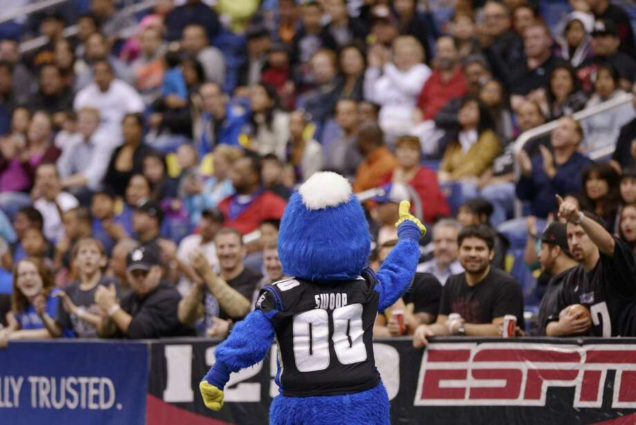 San Antonio Talons mascot Swoop gestures to fans during an arena football game against the New Orleans Voodoo, Wednesday, March 6, 2013, at the Alamodome in San Antonio. (Darren Abate/For the Express-News) Photo: Darren Abate, For The Express-News / San Antonio Express-News