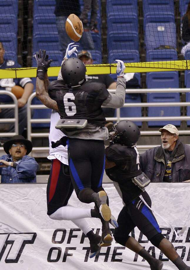 San Antonio Talons' Fred Shaw (6) makes an interception during an arena football game against the New Orleans Voodoo, Wednesday, March 6, 2013, at the Alamodome in San Antonio. (Darren Abate/For the Express-News) Photo: Darren Abate, For The San Antonio Express-News