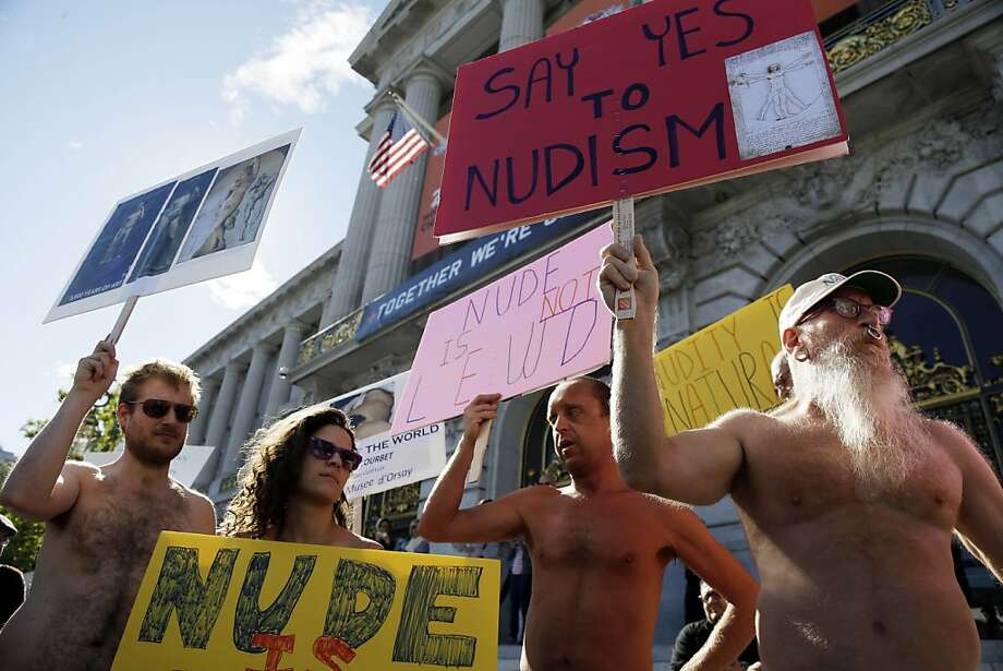 Practitioners of nudity protest a ban on nakedness at City Hall in San Francisco earlier this month. Photo: Marcio Jose Sanchez, Associated Press
