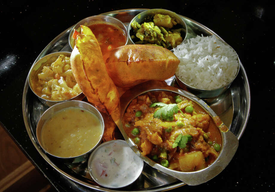 The Vegetarian Thali plate at Gajalee. Photo: John Storey, Special To The Chronicle / John Storey