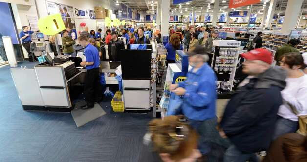 Business is brisk at Best Buy on Black Friday at Crossgates Mall in Guilderland, N.Y. on Black Friday Nov 23, 2012.      (Skip Dickstein/Times Union) Photo: Skip Dickstein / 00020194B