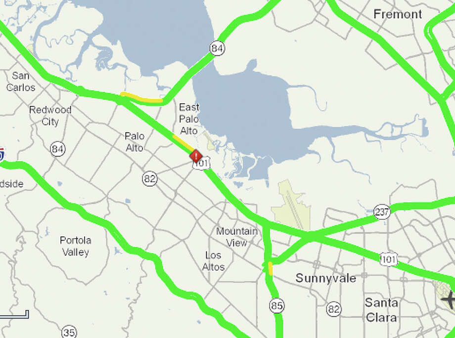 Location of accident on Highway 101 in Palo Alto. Photo: 511.org