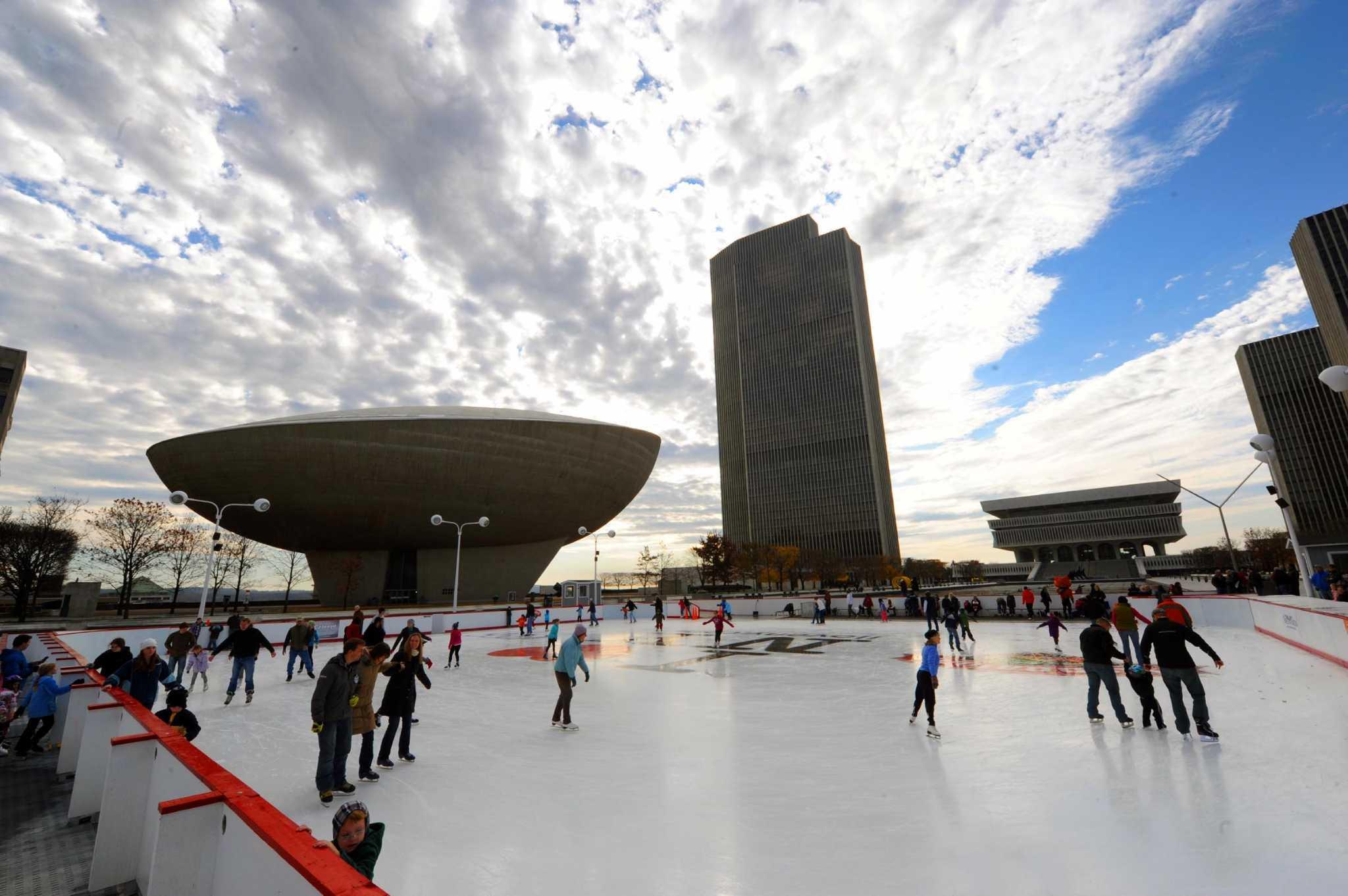 Photos ice skating at the plaza times union for Plaza motors albany ny