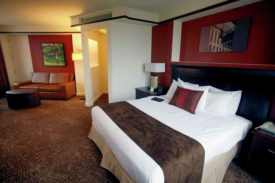 A remodeled room is seen Thursday afternoon Nov. 15, 2012 at the Emily Morgan hotel. The hotel is under new management and is undergoing a more than $4 million renovation. The historic hotel will now be a Doubletree by Hilton. Rooms, common spaces and the restaurant will be updated. Photo: William Luther, San Antonio Express-News / © 2012 San Antonio Express-News
