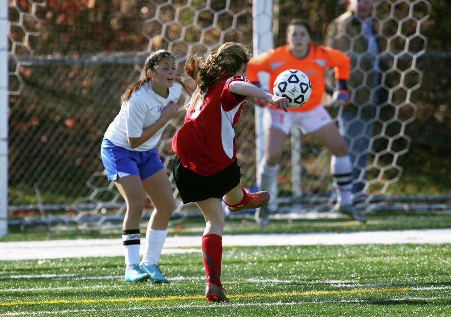 Mike Ross Connecticut Post freelance -Masuk High School's # 1 Jaime Madden takes shot on goal during the first half of the Class L Soccer Finals against Avon High School on Friday afternoon. Avon would win 1-0. Photo: Mike Ross / Connecticut Post Freelance