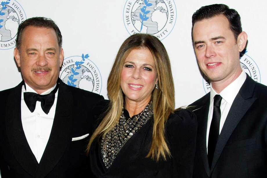 Honoree Tom Hanks, left, Rita Wilson and Colin Hanks attend The Elie Wiesel Foundation For Humanity's Arts for Humanity Gala on Wednesday, Oct. 17, 2012  in New York.  (Photo by Charles Sykes/Invision/AP) Photo: Charles Sykes / Invision