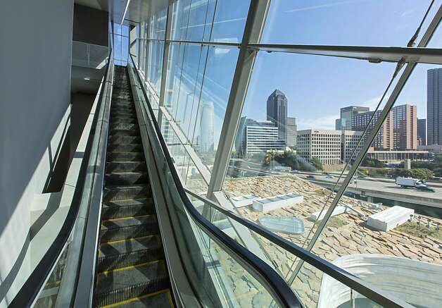 A glass-encased escalator in the new Perot Museum of Nature and Science overlooks downtown Dallas. Photo: Mark Knight Photography