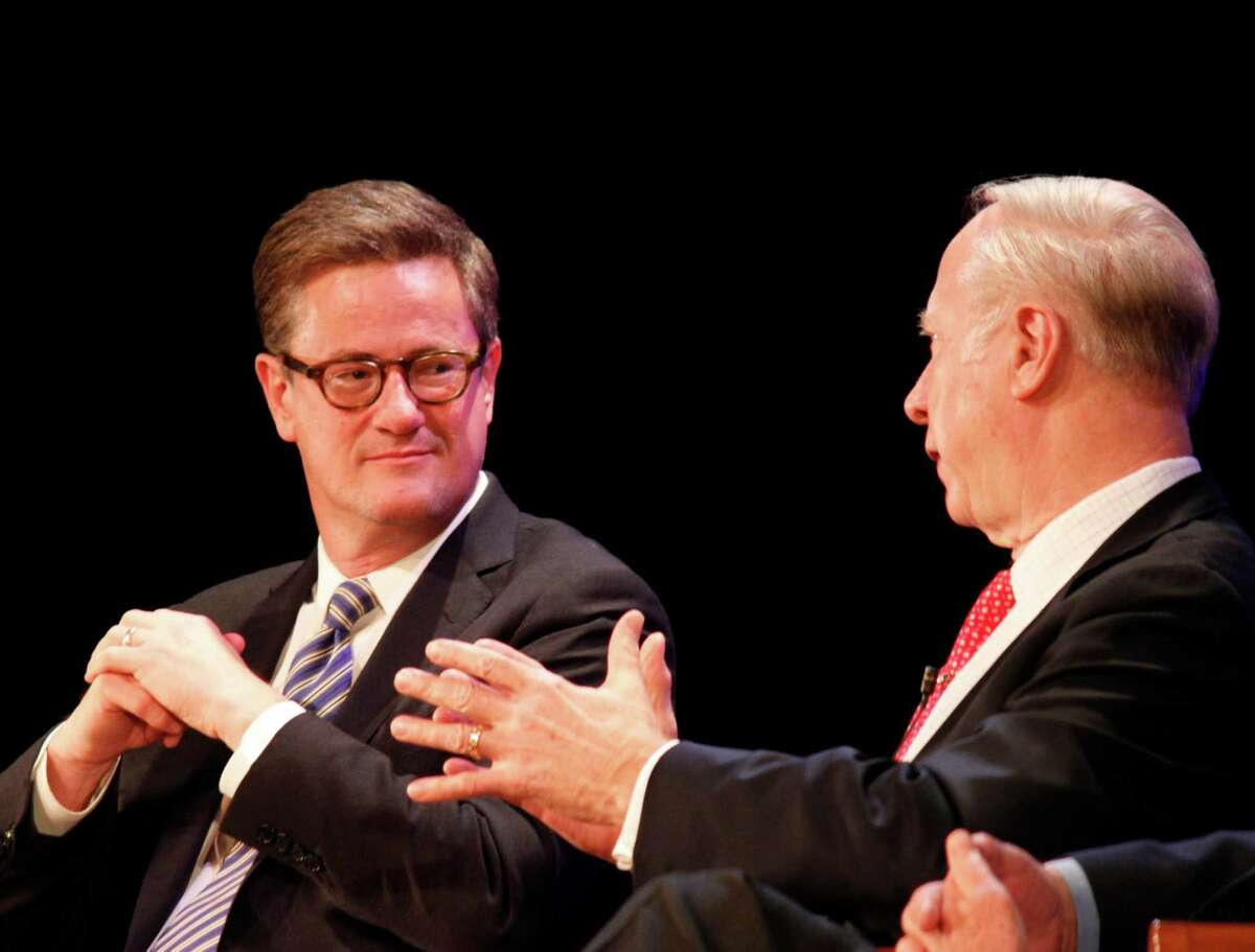 Political commentators and analysists Joe Scarborough, left, and David Gergen share an exchange during the annual Richard Salant Lecture, sponsored by the New Canaan Library, on Sunday, Nov. 18.