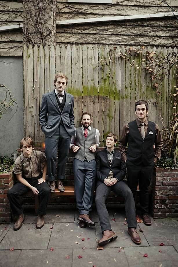 The Punch Brothers - Paul Kowert (left), Chris Thile, Gabe Witcher, Chris Eldridge and Noam Pikelny - use traditional bluegrass instruments to explore new musical terrain. Photo: Danny Clinch