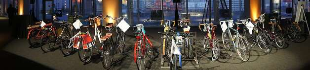 A row of bikes await auction during last year's Winterfest. Fifteen bicycles of all types will be auctioned off at Sunday's event. Photo: Cuong Trinh