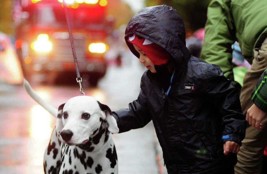 Luis Armijo, 3 1/2, pets a dog as a fire truck approaches in the background. Photo: LINDSEY WASSON / SEATTLEPI.COM