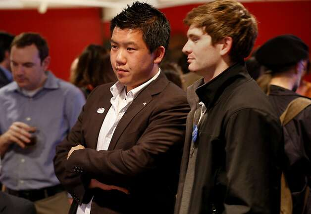 Rick Chen (center) and other young Republicans watched the results trickle in on Fox news. Republicans held their election night party at Alfred's Steakhouse on Merchant Street in San Francisco, Calif. Tuesday November 6, 2012. Photo: Brant Ward, The Chronicle