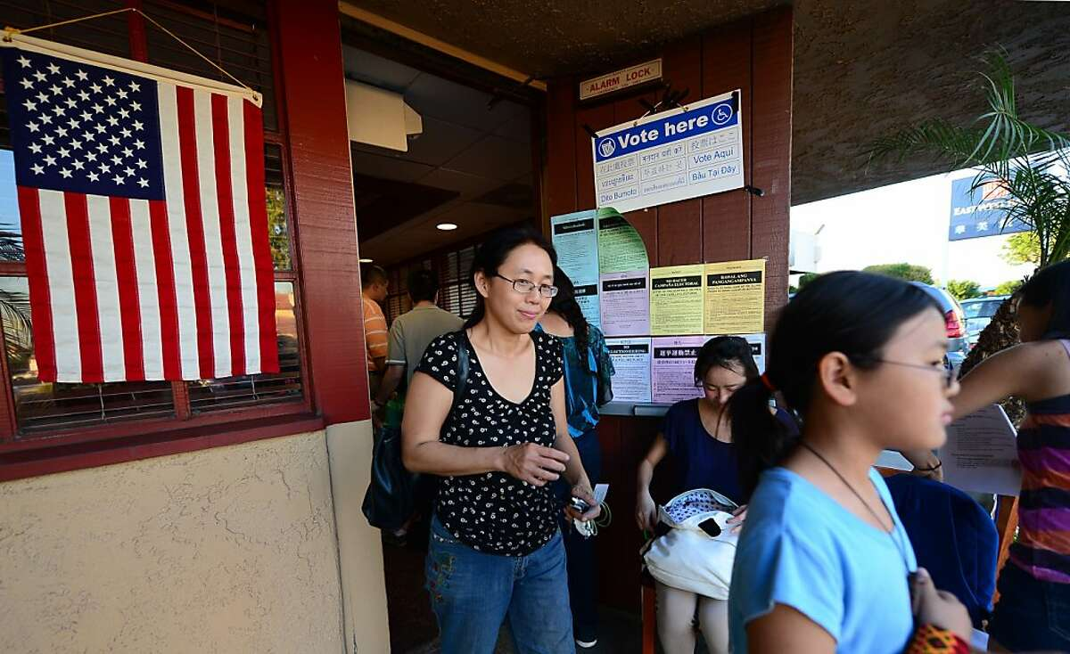 Asian Americans vote on Election Day at a Denny's Restaurant in Temple City, Los Angeles County, on November 6, 2012 in California. AFP PHOTO/Frederic J. BROWNFREDERIC J. BROWN/AFP/Getty Images