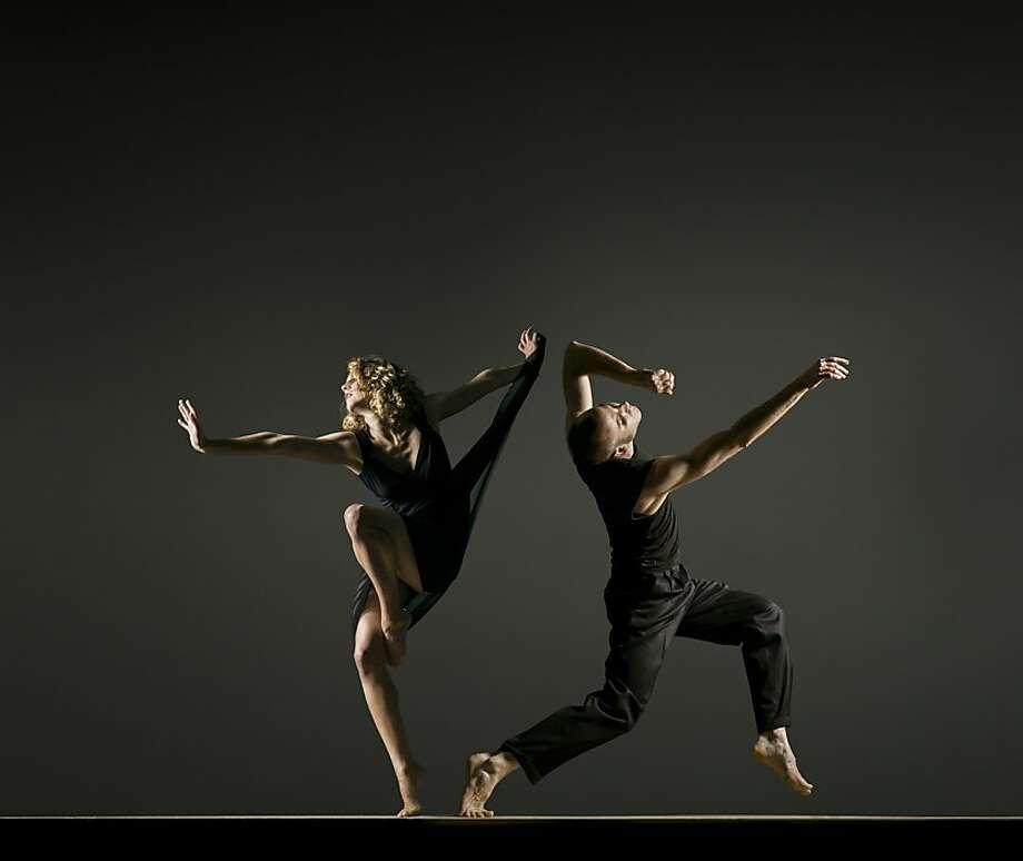 "Tegan Schwab (left) and Nol Simonse dance in ""Angles of Enchantment,"" which unites the skills of two troupes. Photo: RJ Muna., Garrett + Moulton"
