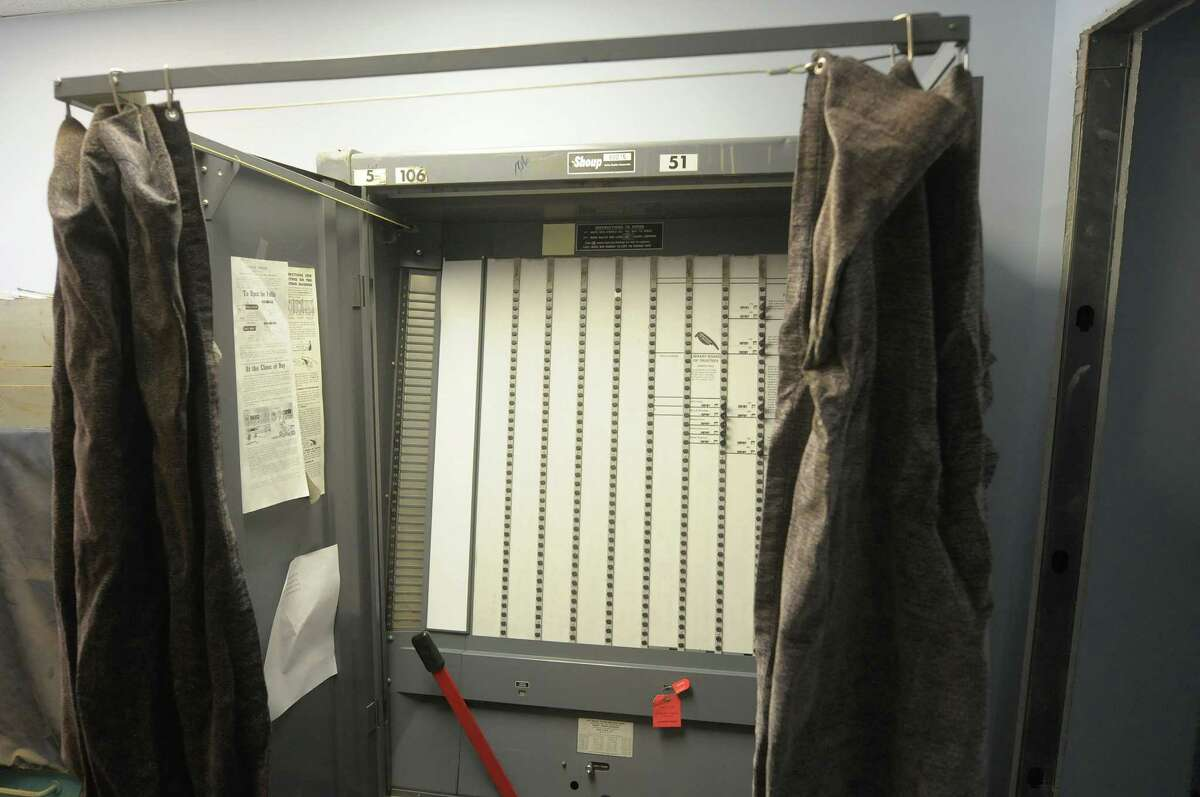 An old mechanical lever voting machine at the Albany County Board of Elections on Monday, Nov. 19, 2012 in Albany, NY. (Paul Buckowski / Times Union)