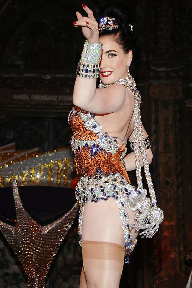 A sparkly Dita Von Teese in a corset from Dark Garden, a favorite S.F. spot. Photo: Cointreau
