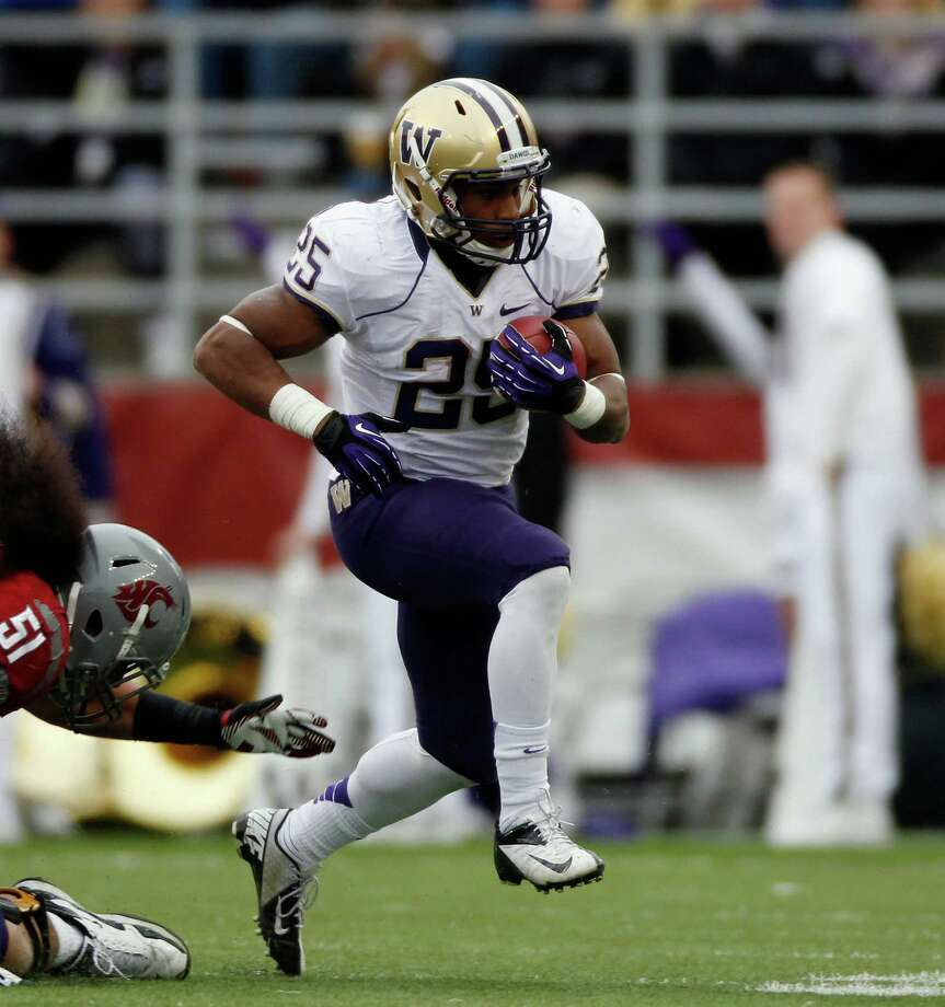 Bishop Sankey #25 of the Washington Huskies carries the ball during the game against the Washington State Cougars. Photo: William Mancebo, Getty Images / 2012 William Mancebo