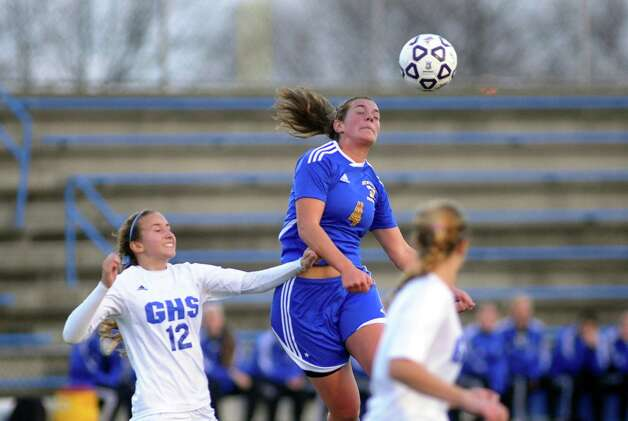 Girls Class LL soccer championship action between Newtown and Glastonbury in West Haven, Conn. on Friday November 23, 2012. Photo: Christian Abraham
