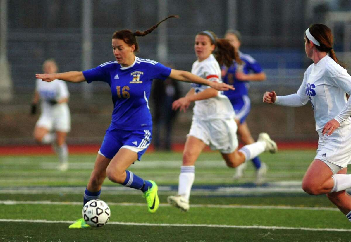 Girls Class LL soccer championship action between Newtown and Glastonbury in West Haven, Conn. on Friday November 23, 2012.
