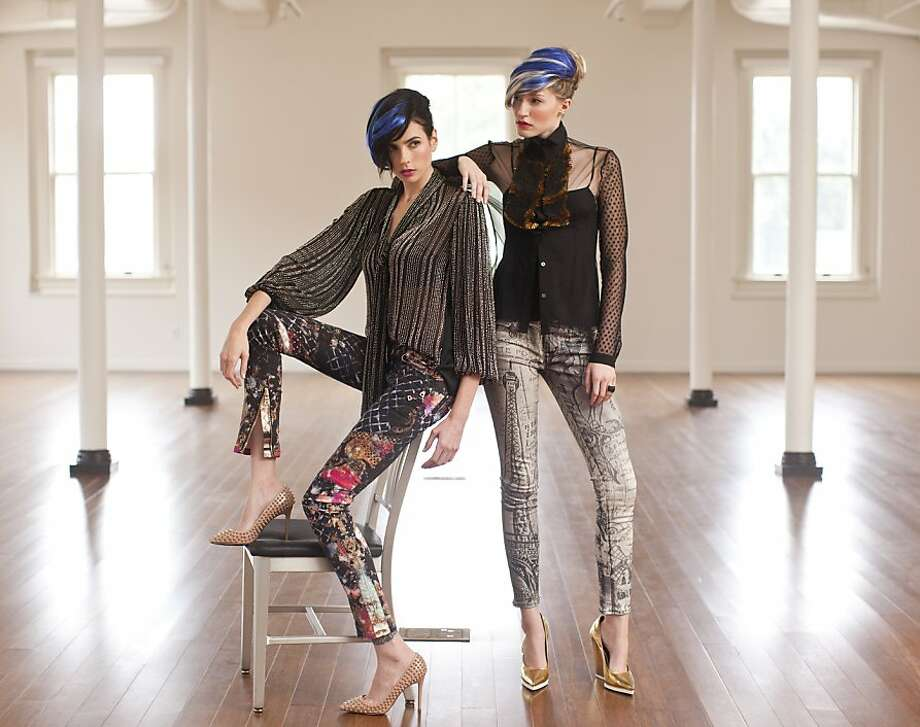 On Layla (left): Balmain graphic print skinny jeans, $2,640; Neiman Marcus; L'Agence beaded tie-neck blouse, $650, Wilkes Bashford; Christian Louboutin shoes, $1,195, Saks Fifth Avenue. On Lauren: Rich & Skinny Parisian skinny jeans, $225, Nordstrom; Viktor & Rolf sheer beaded placket blouse, $2,285, Curve; Céline metallic wedge pump, $750, and Maiyet 18-karat horn ring, $750, both Barneys New York, S.F. Photo: Russell Yip, The Chronicle