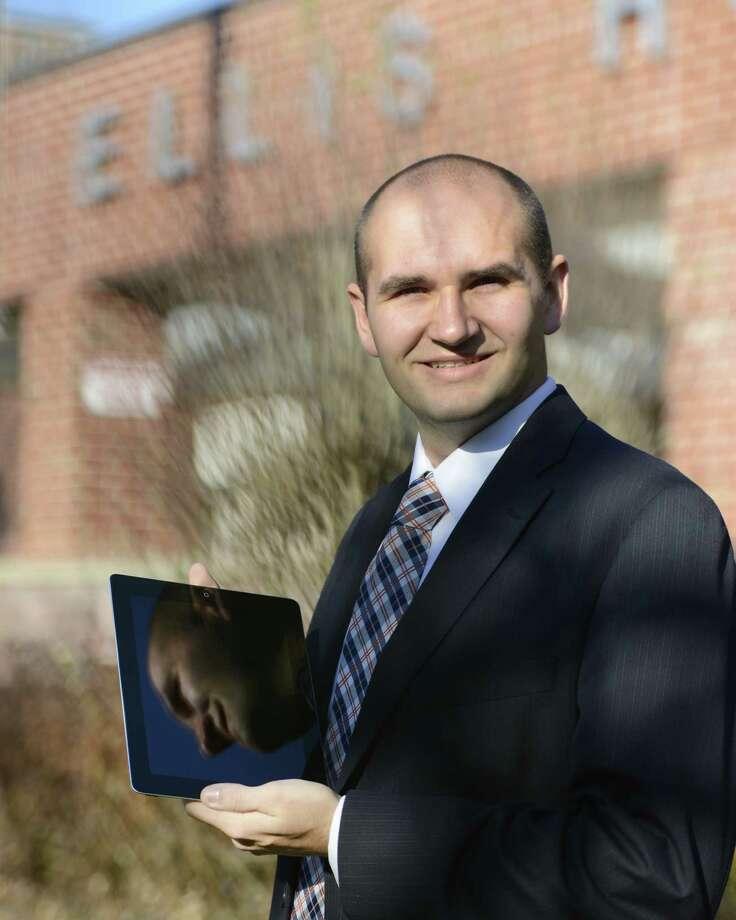 Matthew Van Pelt, Ellis Medicine social media & communications specialist, assumed his new job in Schenectady, N.Y., Nov 12, 2012.   (Skip Dickstein/Times Union) Photo: SKIP DICKSTEIN / 00020052A