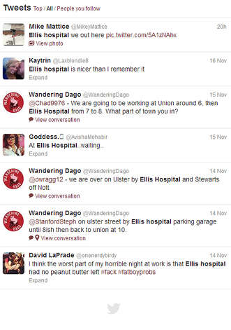 A snapshots of tweets about Ellis Hospital.