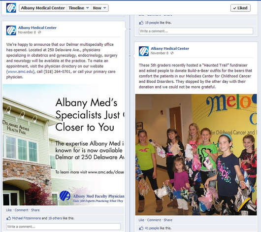 A snapshot of Albany Medical Center's Facebook page.